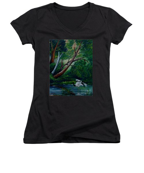 Bird In The Swamp Women's V-Neck (Athletic Fit)