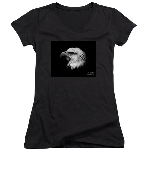 Women's V-Neck T-Shirt (Junior Cut) featuring the photograph Black And White Eagle by Steve McKinzie