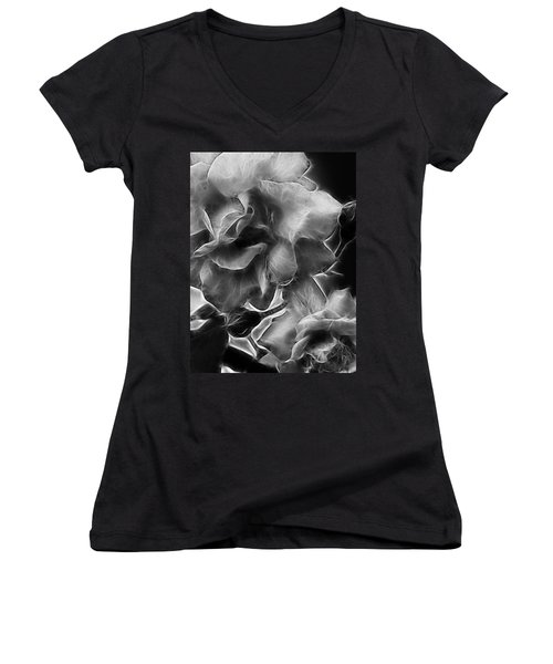 Black And White Roses Women's V-Neck (Athletic Fit)