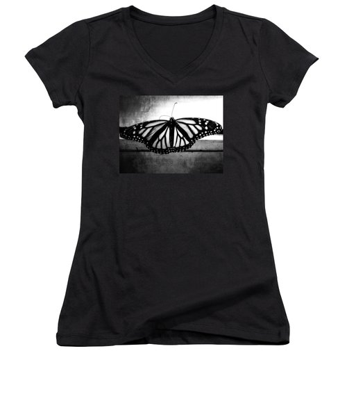 Women's V-Neck T-Shirt (Junior Cut) featuring the photograph Black Butterfly by Julia Wilcox