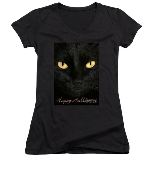 Black Cat Halloween Card Women's V-Neck