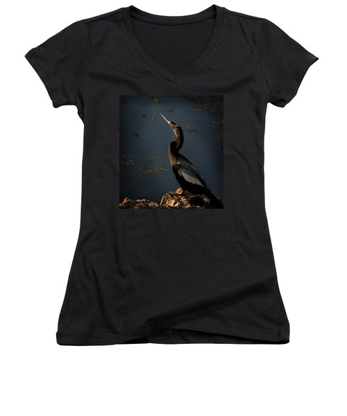 Women's V-Neck T-Shirt (Junior Cut) featuring the photograph Black Light by Steven Sparks