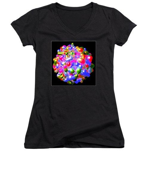 Women's V-Neck T-Shirt (Junior Cut) featuring the digital art Blob Of Color... by Tim Fillingim