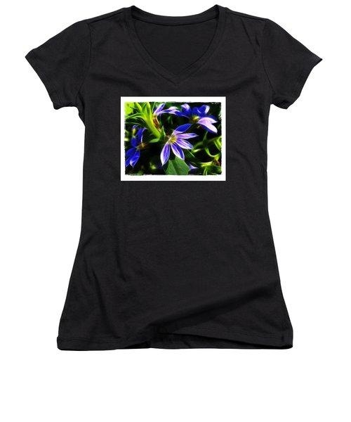 Women's V-Neck T-Shirt (Junior Cut) featuring the photograph Blue Ballet by Judi Bagwell