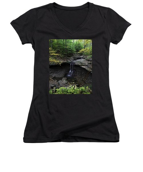 Women's V-Neck featuring the photograph Blue Hen Falls by Dale Kincaid