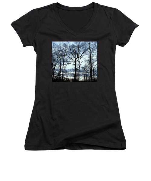 Women's V-Neck T-Shirt (Junior Cut) featuring the photograph Blue Mirage by Pamela Hyde Wilson