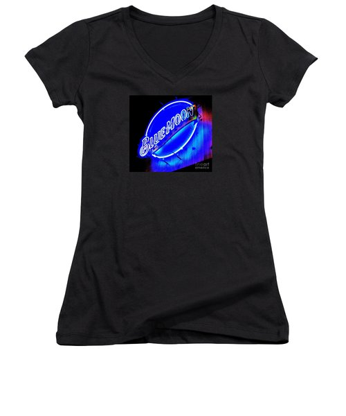 Women's V-Neck T-Shirt (Junior Cut) featuring the photograph Blue Moo Neon Blue Horseshoe by John King