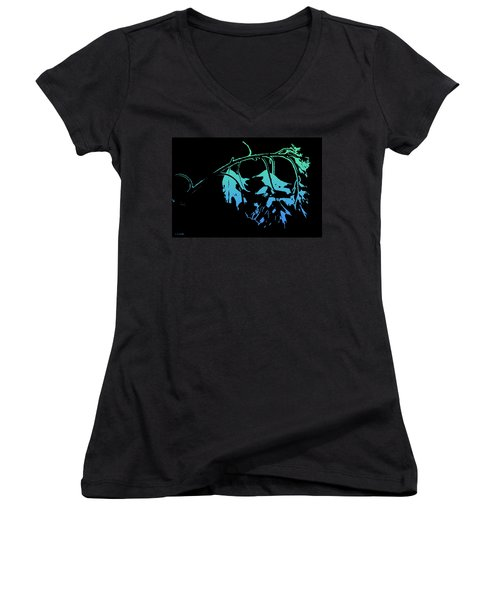 Blue On Black Women's V-Neck