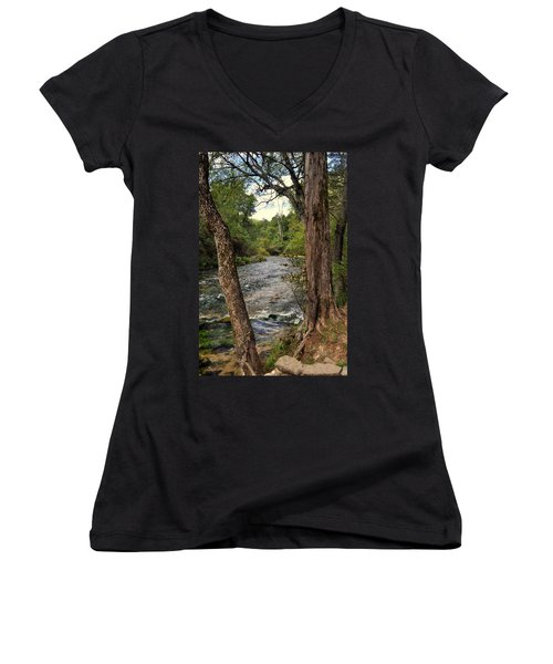 Women's V-Neck T-Shirt (Junior Cut) featuring the photograph Blue Spring Branch by Marty Koch