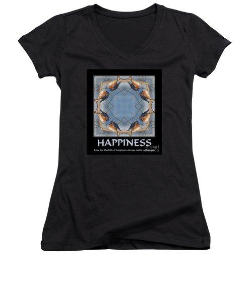 Bluebird Kaleidoscope Happiness Women's V-Neck T-Shirt (Junior Cut) by Smilin Eyes  Treasures