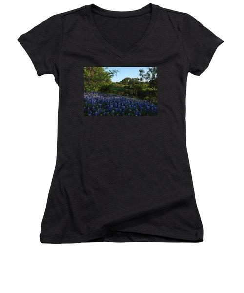 Women's V-Neck T-Shirt (Junior Cut) featuring the photograph Bluebonnets At The Pond by Susan Rovira