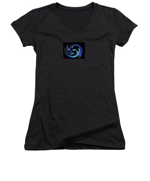Dancing Blues Women's V-Neck T-Shirt (Junior Cut) by Maciek Froncisz