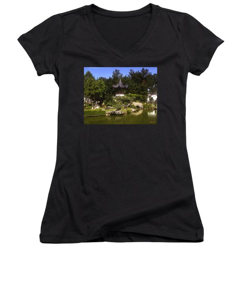 Bonzai Garden And Gazebo 19l Women's V-Neck T-Shirt (Junior Cut) by Gerry Gantt