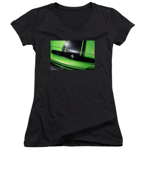Women's V-Neck T-Shirt (Junior Cut) featuring the photograph Boss 302 Ford Mustang by Gordon Dean II
