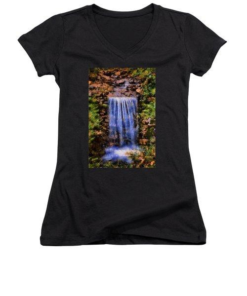 Women's V-Neck T-Shirt (Junior Cut) featuring the digital art Botanical Garden Falls by Lynne Jenkins