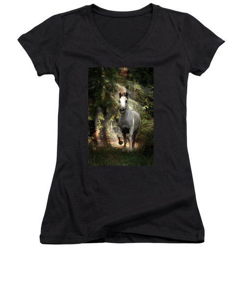 Breaking Dawn Gallop Women's V-Neck T-Shirt (Junior Cut) by Wes and Dotty Weber