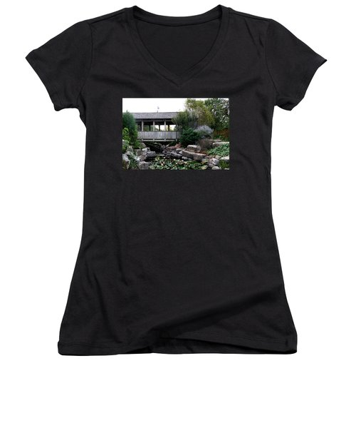Women's V-Neck T-Shirt (Junior Cut) featuring the photograph Bridge Over Water by Elizabeth Winter