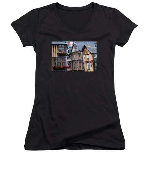 Women's V-Neck T-Shirt (Junior Cut) featuring the photograph Brittany Buildings by Dave Mills