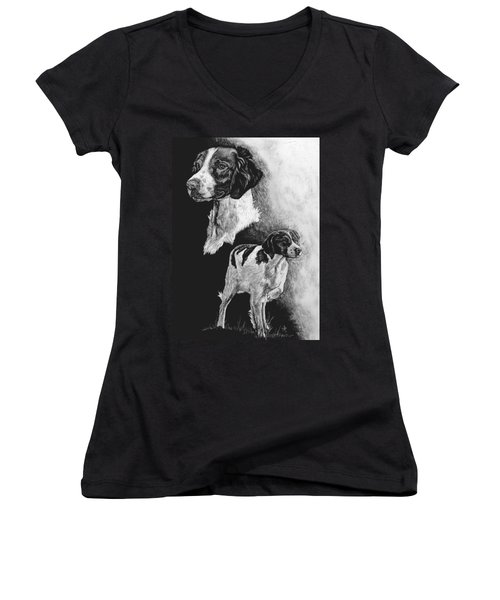 Women's V-Neck T-Shirt (Junior Cut) featuring the drawing Brittany by Rachel Hames