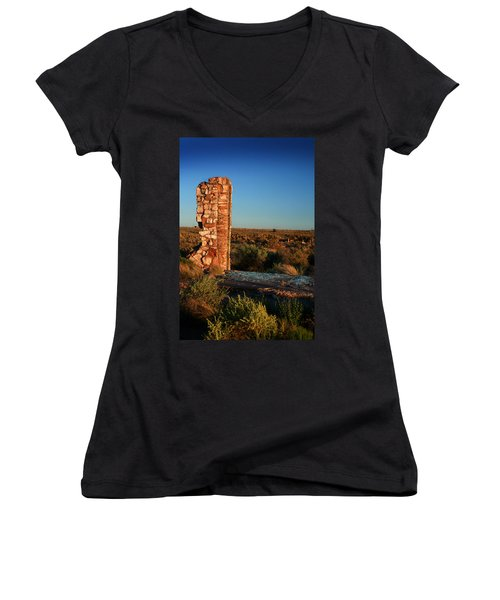 Women's V-Neck T-Shirt (Junior Cut) featuring the photograph Broken Glass At Two Guns by Lon Casler Bixby