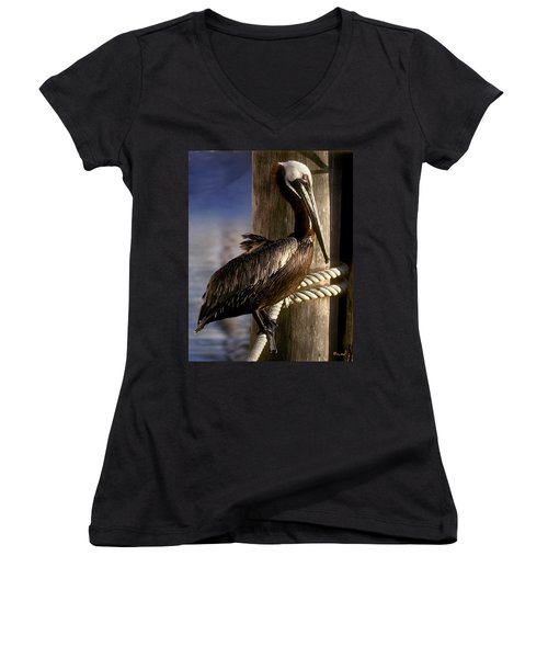 Brown Pelican In Key West 9l Women's V-Neck T-Shirt (Junior Cut) by Gerry Gantt