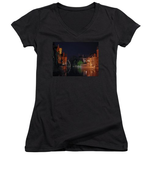 Women's V-Neck T-Shirt (Junior Cut) featuring the photograph Bruges by David Gleeson