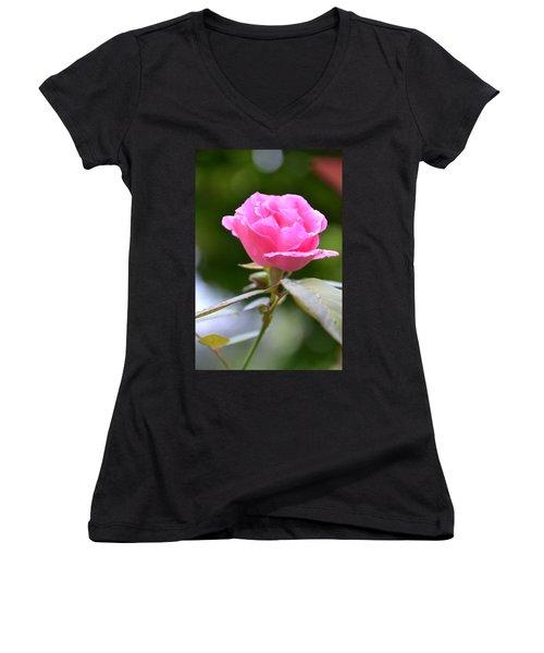 Bubblegum Rose Women's V-Neck T-Shirt
