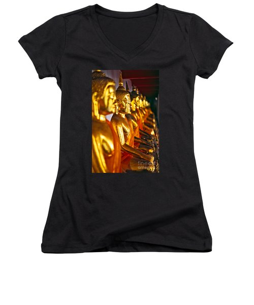 Women's V-Neck T-Shirt (Junior Cut) featuring the photograph Buddhas by Luciano Mortula
