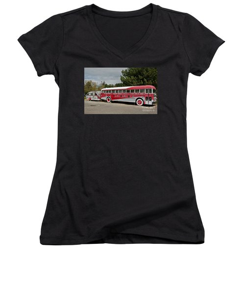 Buddy Holly 1958 Tour Of Stars Bus Art Prints Women's V-Neck T-Shirt (Junior Cut) by Valerie Garner
