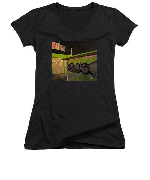 Women's V-Neck T-Shirt (Junior Cut) featuring the photograph Building 31 Rimini Beach Graffiti by Andy Prendy