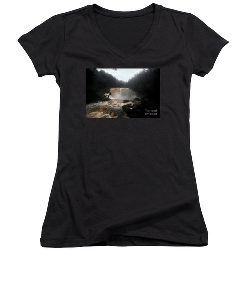 Women's V-Neck T-Shirt (Junior Cut) featuring the photograph Bull Elk In Front Of Waterfall by Dan Friend