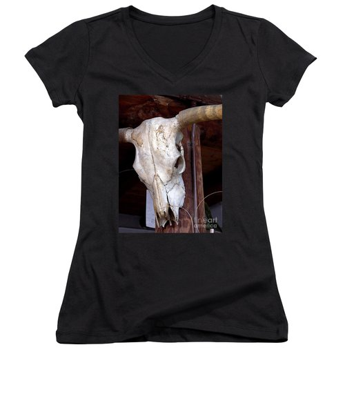 Bull Skull Women's V-Neck (Athletic Fit)