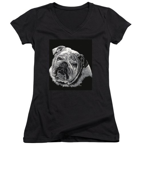 Women's V-Neck T-Shirt (Junior Cut) featuring the drawing Bulldog by Rachel Hames