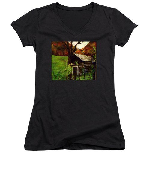Cabin By A Hillside Women's V-Neck T-Shirt (Junior Cut) by Christy Saunders Church