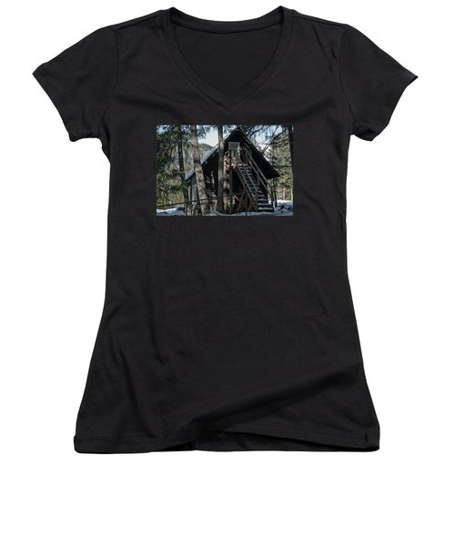 Women's V-Neck T-Shirt (Junior Cut) featuring the photograph Cabin Get Away by Tikvah's Hope