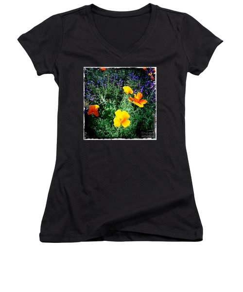 Women's V-Neck T-Shirt (Junior Cut) featuring the photograph California Poppy by Nina Prommer