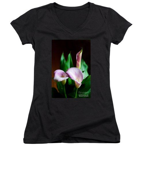 Women's V-Neck T-Shirt (Junior Cut) featuring the photograph Calla Lily by Barbara McMahon