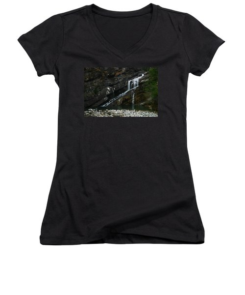 Cameron Falls Waterton Lakes National Park Women's V-Neck (Athletic Fit)