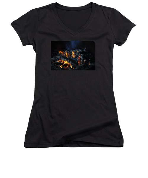 Women's V-Neck T-Shirt (Junior Cut) featuring the photograph Campfire by Fran Riley