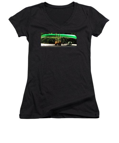 Canoe To Nowhere Women's V-Neck T-Shirt (Junior Cut) by Alec Drake