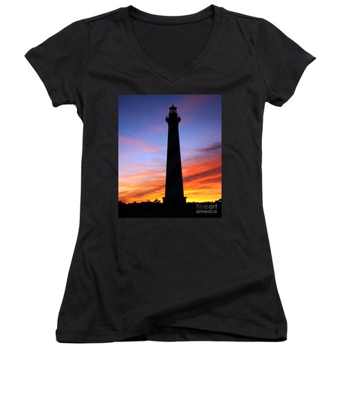 Cape Hatteras Sunset Women's V-Neck T-Shirt (Junior Cut) by Tony Cooper