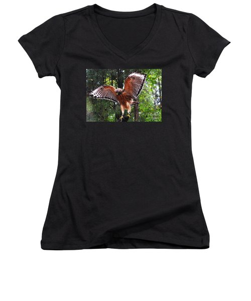Women's V-Neck T-Shirt (Junior Cut) featuring the photograph Captivity by Lydia Holly