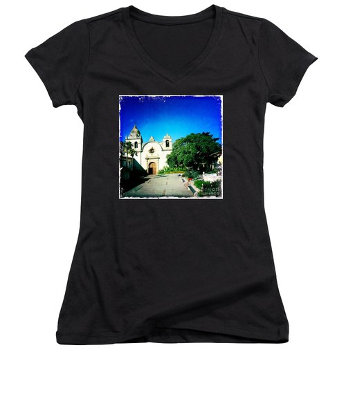 Women's V-Neck T-Shirt (Junior Cut) featuring the photograph Carmel Mission by Nina Prommer