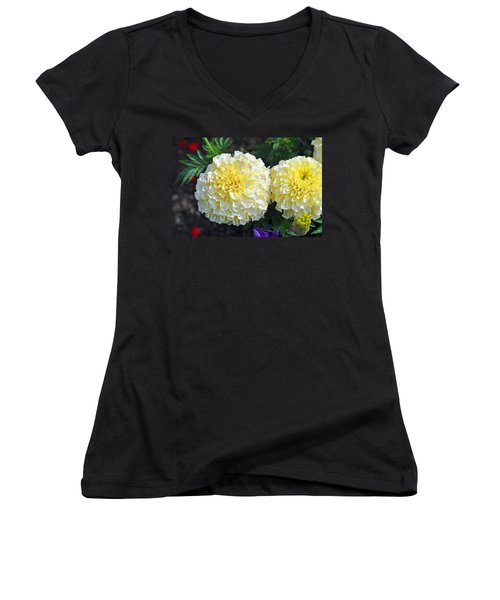 Women's V-Neck T-Shirt (Junior Cut) featuring the photograph Carnations by Tikvah's Hope