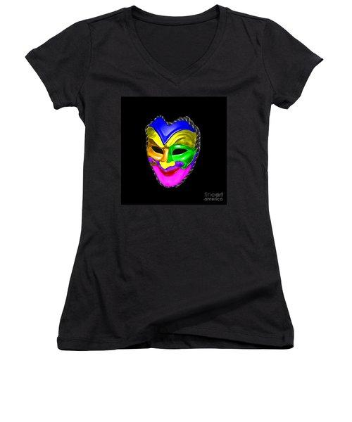 Women's V-Neck T-Shirt (Junior Cut) featuring the photograph Carnival Mask by Blair Stuart