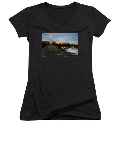 Castle Geyser Yellowstone National Park Women's V-Neck (Athletic Fit)