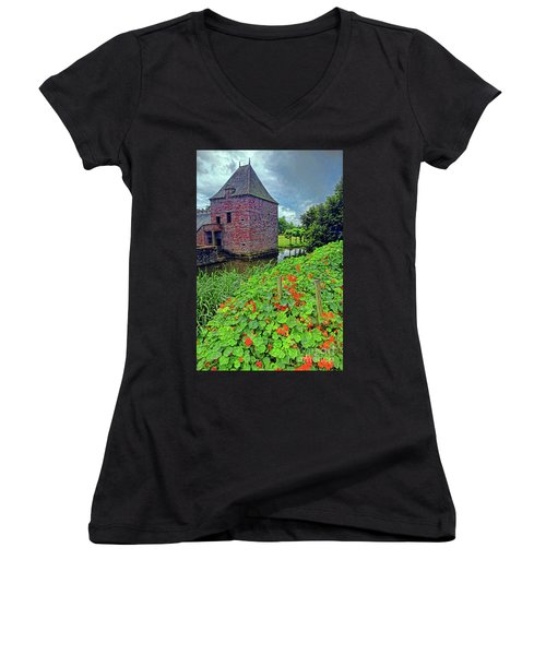 Women's V-Neck T-Shirt (Junior Cut) featuring the photograph Chateau Tower And Nasturtiums by Dave Mills