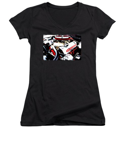 Women's V-Neck T-Shirt (Junior Cut) featuring the digital art Chevy Power Plant by Tony Cooper