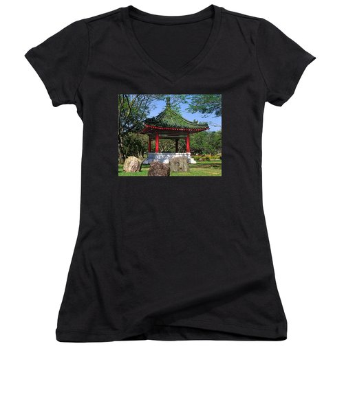 Chinese Gardens Garden Pavilion 21b Women's V-Neck T-Shirt (Junior Cut) by Gerry Gantt