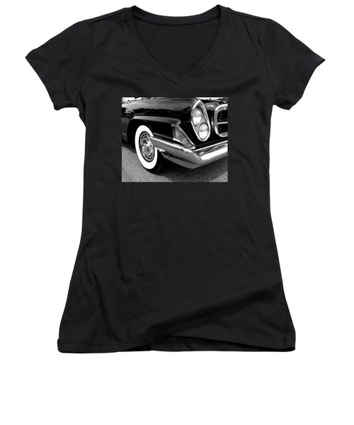 Chrysler 300 Headlight In Black And White Women's V-Neck (Athletic Fit)